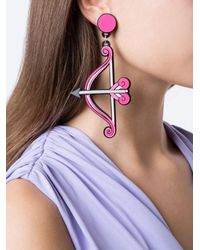 Yazbukey - Pink Bow And Arrow Earrings - Lyst