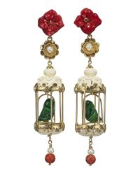 Of Rare Origin | Green Aviary Classic Earrings - Red & White | Lyst