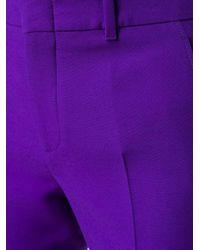 Kirna Zabete Purple Wool Crop Flare Culottes