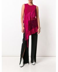 Givenchy - Multicolor Lace Insert Asymmetric Blouse - Lyst