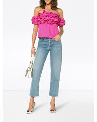 Rosie Assoulin - Blue Off-the-shoulder Ruffled Taffeta Top - Lyst