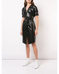 Nanushka - Black Wet Look Shirt Dress - Lyst