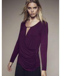 Krisa   Purple Ruched Surplice Long Sleeve   Lyst