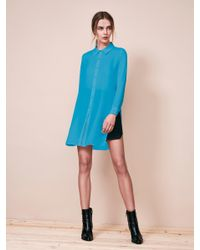 Krisa - Blue Tunic Button Front Shirt - Lyst