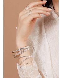 Lady Grey Metallic Wrap Ring In Silver