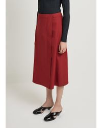Lemaire Red Wrap Over Cotton Poplin Skirt