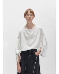 3.1 Phillip Lim | White Pierced Sleeves Draped Blouse | Lyst