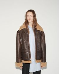 Vetements - Brown Shearling-lined Leather Jacket - Lyst