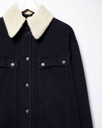 MM6 by Maison Martin Margiela - Blue Shearling Collar Denim Jacket - Lyst