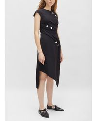 Proenza Schouler - Black Satin Sable Asymmetrical Dress - Lyst