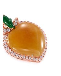 LC COLLECTION - Metallic Diamond Jade 18k White Gold Jade Peach Pendant - Lyst