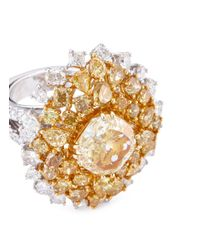 LC COLLECTION - Metallic Diamond Cluster 18k Gold Ring - Lyst
