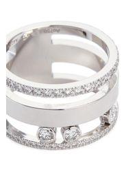 Messika - Metallic 'move Romane' Diamond 18k White Gold Three Row Ring - Lyst