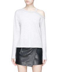 Rag & Bone - Gray 'sky' Cutout Shoulder T-shirt - Lyst