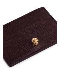 Alexander McQueen - Red Skull Leather Card Holder - Lyst