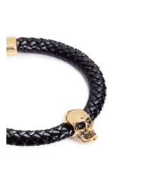 Alexander McQueen - Black Skull Charm Braided Leather Bracelet - Lyst