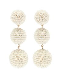 Kenneth Jay Lane - White Beaded Sphere Drop Earrings - Lyst