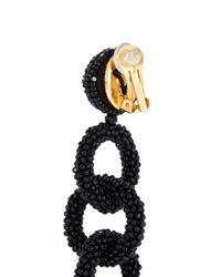 Oscar de la Renta - Black Beaded Interlocking Hoop Link Clip Earrings - Lyst