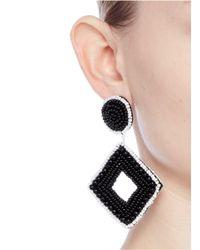 Kenneth Jay Lane - Black Beaded Rhombus Drop Earrings - Lyst
