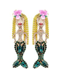 Elizabeth Cole - Multicolor 'mermaid' Swarovski Crystal Drop Earrings - Lyst