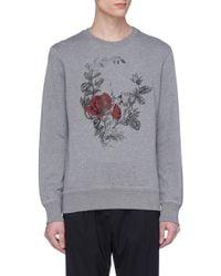 Alexander McQueen - Gray Rose Skull Print Sweatshirt for Men - Lyst