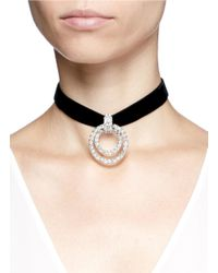 Kenneth Jay Lane - Black Circle Crystal Pavé Velvet Choker Necklace - Lyst