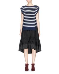 3.1 Phillip Lim | Multicolor 'sailor' Two-in-one Stripe Cardigan Peplum Dress | Lyst
