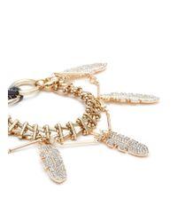 Venna - Metallic Glass Crystal Feather Charm Bracelet - Lyst