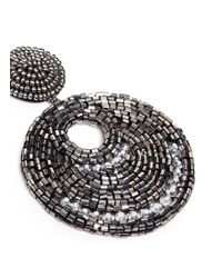 Kenneth Jay Lane - Metallic Beaded Cutout Circle Drop Earrings - Lyst