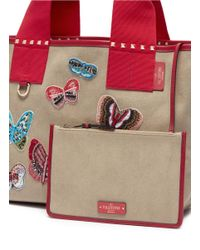 Valentino - Red Beaded Butterfly Patch Small Canvas Tote - Lyst