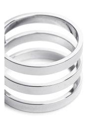 Repossi - Metallic 'berbère' 18k White Gold Three Row Ring - Lyst