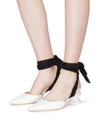 Rejina Pyo - White 'barbara' Sculptural Heel Suede Ankle Tie Leather Pumps - Lyst