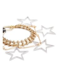 Venna - Metallic Glass Crystal Star Charm Bracelet - Lyst