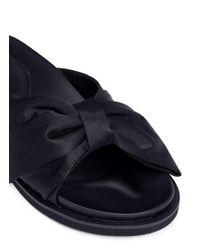 Pedder Red - Black 'tony' Bow Satin Slide Sandals - Lyst