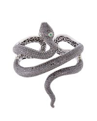 Lydia Courteille | Metallic Diamond Garnet Rhodium 18k Gold Snake Bangle | Lyst