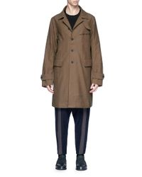 Ziggy Chen - Brown Graphic Patchwork Oversized Twill Coat for Men - Lyst