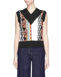 AALTO - Blue 'coogi' Pattern Mixed Knit Gilet - Lyst