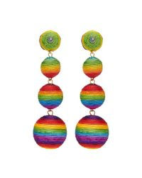 Kenneth Jay Lane - Green Rainbow Threaded Sphere Clip Drop Earrings - Lyst