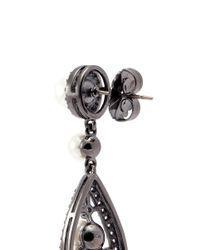 CZ by Kenneth Jay Lane - Metallic Cubic Zirconia Glass Pearl Teardrop Earrings - Lyst
