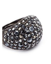 Kenneth Jay Lane - Metallic Glass Crystal Wide Band Ring - Lyst