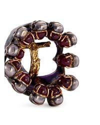 Delfina Delettrez - Metallic Ruby 18k Gold And Silver Skull Cross Ring - Lyst