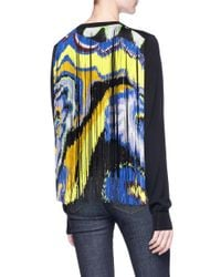 Emilio Pucci | Blue Fringe Back Overlay Virgin Wool Sweater | Lyst