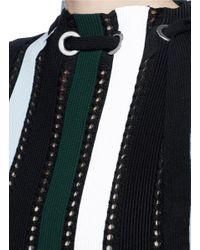 Proenza Schouler | Black Drawstring Neck Stripe Ottoman And Pointelle Knit Top | Lyst
