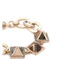 Lulu Frost - Metallic 'pyramides' Mix Gemstone Crystal Pavé Pyramid Stud Bracelet - Lyst