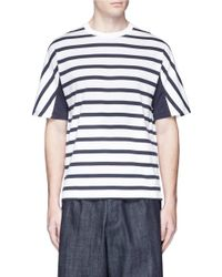 Tomorrowland - Blue Stripe Panel Cotton T-shirt for Men - Lyst