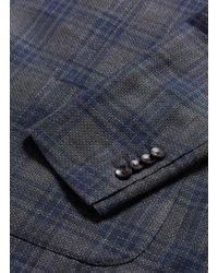 Lardini - Blue Check Plaid Linen-wool-silk Soft Blazer for Men - Lyst