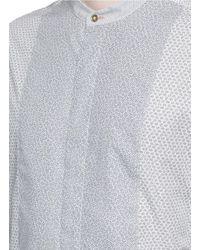 Paul Smith - Blue Mixed Print Patchwork Mandarin Collar Shirt for Men - Lyst