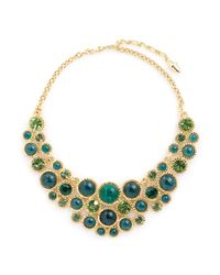 Kenneth Jay Lane | Multicolor Glass Crystal Cabochon Gold Plated Necklace | Lyst