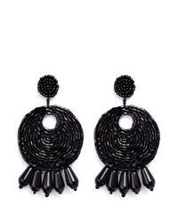 Kenneth Jay Lane   Black Beaded Gypsy Hoop Clip Earrings   Lyst