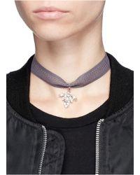 Joomi Lim - Gray Swarovski Crystal Bug Pendant Mesh Choker Necklace - Lyst